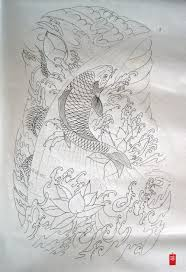 koi lotus and dragon outline preparation work tatoo pinterest