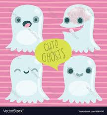 cute halloween ghost pictures cute cartoon ghost set funny halloween character vector image