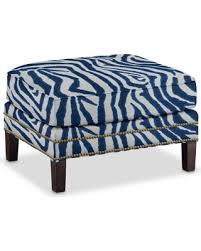 Ikat Ottoman Big Deal On Club Ottoman Printed Zebra Ikat Blue