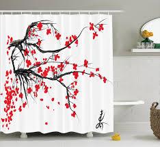 amazon com house decor shower curtain by ambesonne sakura
