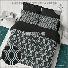 Indie Duvet Covers Black Marble Metallic Geometry Duvet Cover Black Green Marble