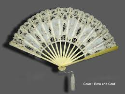lace fan fan embroidered inserts ivory gold threads