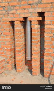 chimney pipe installation brick image u0026 photo bigstock