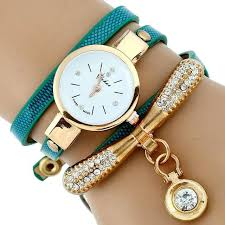 bracelet chain watches images Gold rhinestone leather bracelet watch gift a hug jpg