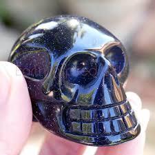 Amazing Skull - blue goldstone skulls with amazing sparkle earth