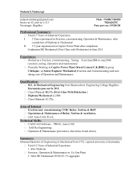 Be Mechanical Engineering Resume Resume Updated