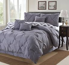 Amazon King Comforter Sets Amazon Com 7 Piece Modern Pinch Pleated Comforter Set King Grey