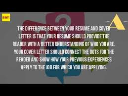 what is the difference between a resume and a cover letter youtube