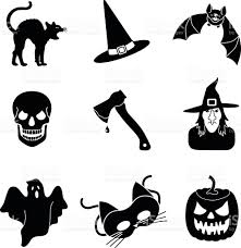 halloween vector icons in black and white stock vector art