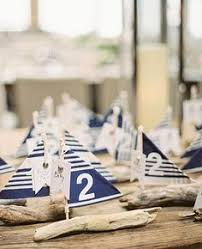 driftwood sailboats used for table centerpieces at nautical