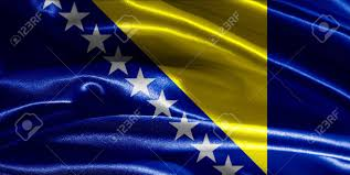Flag Of Bosnia Bosnian Herzegovinian Flag Fabric With Waves Stock Photo Picture