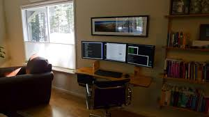 3 Monitor Computer Desk Hanging Desk 3 Monitor Workspace Here S The Finished Proje Flickr