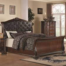 Black Leather Sleigh Bed Maddison Sleigh Bed W Upholstered Headboard