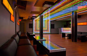 the lower level lounge of venue has a computer controlled lighting