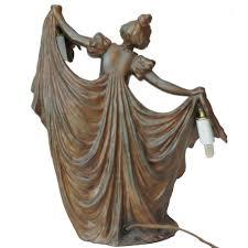 Sculpture Table Lamps Antique Art Nouveau Gustav Gurschner Style Lady Figurine 1stdibs