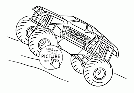 monster truck maximum destruction coloring page for kids