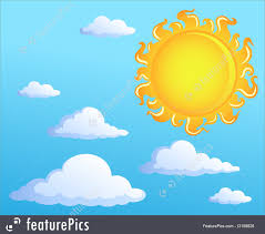 sun with clouds theme 1 illustration