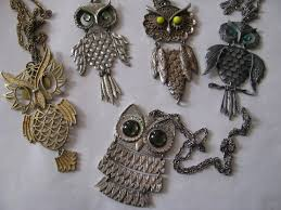 vintage owl necklace jewelry images Lot vintage owls retro boho hippie jewelry pendant necklaces jpg