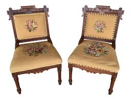 vintage used victorian seating chairish pair of victorian eastlake needle point his hers accent chairs