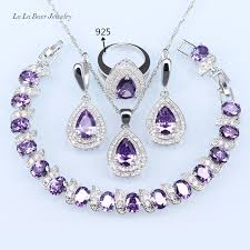 silver purple necklace images L b silver color 925 logo jewelry sets for women light purple jpg