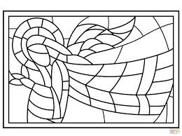 christmas stained glass with angel coloring page free printable