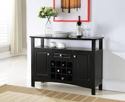 Storage Console Table Kings Brand Black Finish Wood Wine Rack Buffet Cabinet Storage