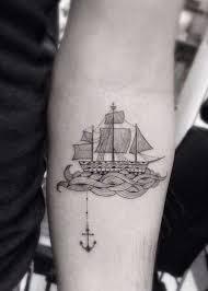 antique ship tattoos to convey your feelings of nostalgia design