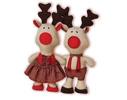 Stuffed Reindeer Christmas Decorations by Red Nosed Reindeer Etsy