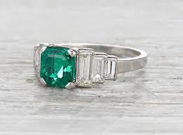 stunning art deco emerald engagement ring mon cheri bridals