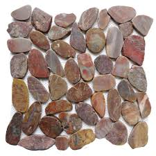 inspirations black pebble tile sliced stone tile pebble