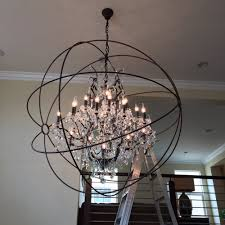 dining room enchanting orb chandelier with six lights for