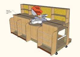 table saw station plans combo miter saw station lumber rack
