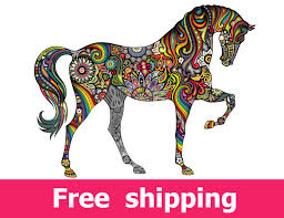 abstract horse wall sticker colorful horse wall decal decor zoom