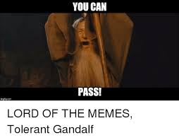 Lord Of The Memes - imgflipcom you can pass lord of the memes tolerant gandalf