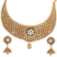 new necklace set images Buy swanvi new traditional gold tone necklace set for women online jpg