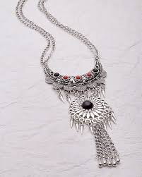 black necklace long images Buy silver oxidized long necklace with black and red beads online jpg