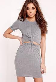 short sleeve cut out knot waist t shirt dress grey missguided