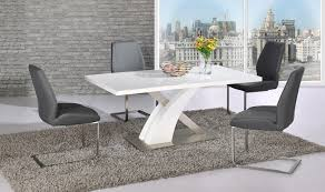 Dining Table Chairs Set White Glass Gloss Dining Table And 4 Grey Chairs Set Homegenies