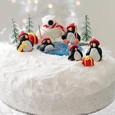 Christmas Cake Decorations Edible by Christmas Cake Decoration Penguins And A Polar Bear Christmas