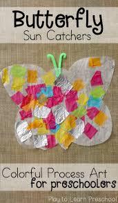 colorful butterfly sun catchers process art for preschoolers