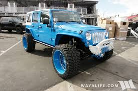 jeep wrangler blue sema 2016 sobecustoms blue white jeep jk wrangler unlimited