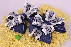 handmade bows madeheart set of blue handmade hair bows 2 pieces textile hair