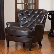 Brown Leather Accent Chair Accent Chairs Leather Living Room Chairs For Less Overstock