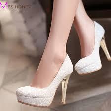 dressy shoes for wedding glitter dress shoes stiletto heel platforms white gold