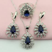 navy jewelry navy blue white artificial silver color fashion