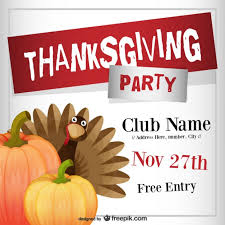 Thanksgiving Invitations Templates Free Thanksgiving Party Flyer Template Vector Free Download