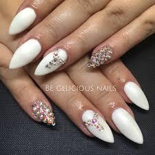 calgel nails gel nail art nail design white swarovski pointy