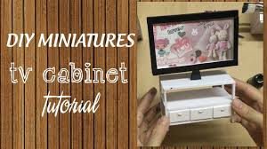How To Make Homemade Dollhouse Furniture Diy Miniature Tv Cabinet Tutorial How To Make A Miniature Tv