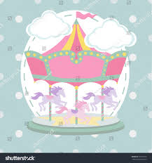 vintage vector carouselmerry go round birthday stock vector