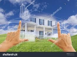 custom house design female hands framing beautiful custom house stock photo 265022372